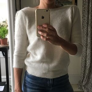 Zara Cream Angora V-Back Sweater